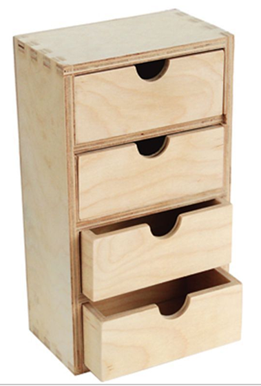 Multi Use Unfinished Wood Treasure Chest Of Drawer For