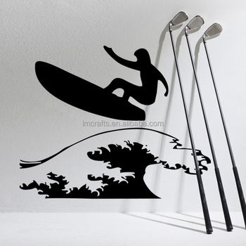 Sports surfing background print hot sell popular wall sticker living room decorative wall sticker lm054