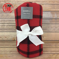 China Manufacturer Factory Price Wholesale Cheap Weight Cozy Thick Polar Fleece Plaid Printed Promotional Gift Throw Blankets