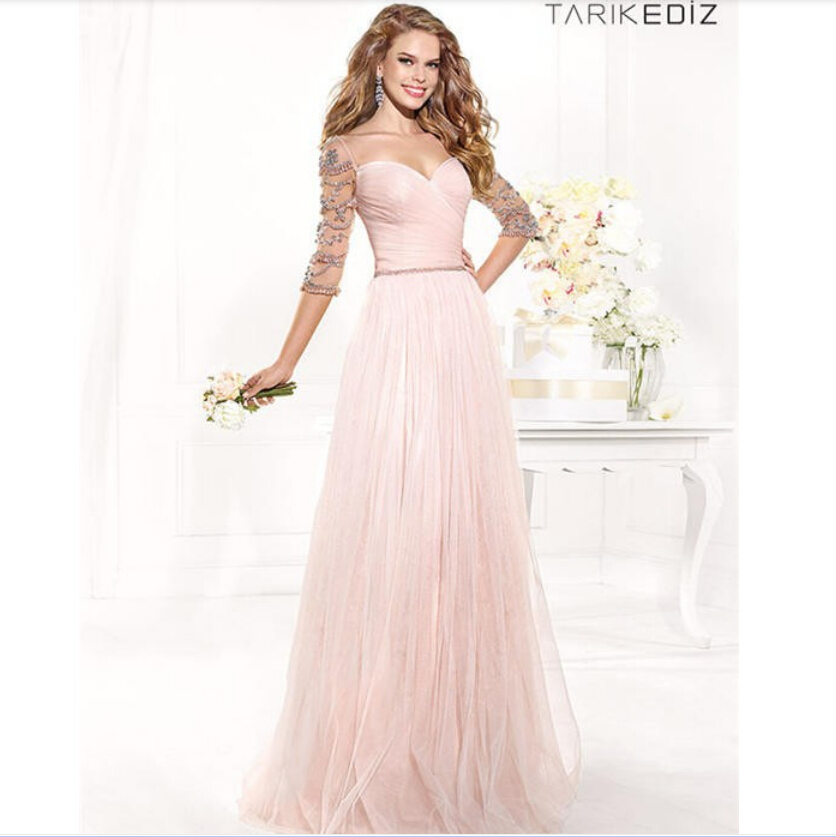 5c2372a63e5 Get Quotations · Sweetheart Backless Beaded Tulle Pleats Three Quarter  Sleeves Pink Evening Dress 2015 Tarik Ediz