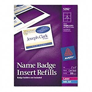 Avery® Additional White Laser Inserts for Badge Holders REFILL,F/5384,NME TAG,300 T060120 (Pack of5)