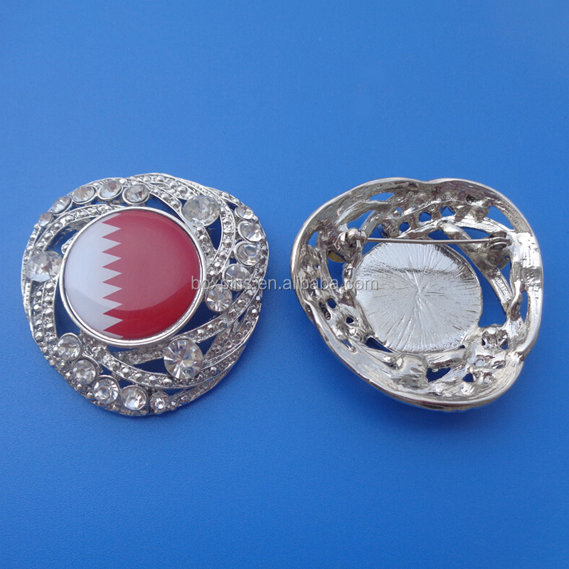 Qatar Flag Round Stone Safety Pin Badges