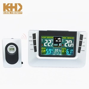 KH-WL006 Temperature Square Outdoor LED Thermometer Hygrometer Clock Color Display Weather Station