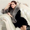 Women Winter Long Luxury Fox Fur Collar Coat Black Plus Size 4XL Faux Mink Fur Women