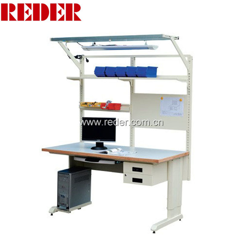 Best price esd assembly line working table workbench led lighting with drawer cabinet