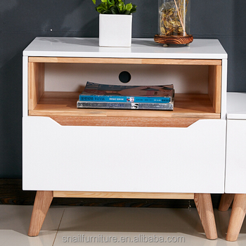 Widely Used Small Size Sided Simple Tv Stand Natural Wood Cabinet