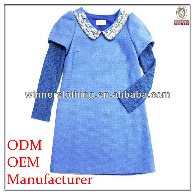 cute/sweet party wear summer lace sleeve applique collar jacquard formal dress patterns for girl