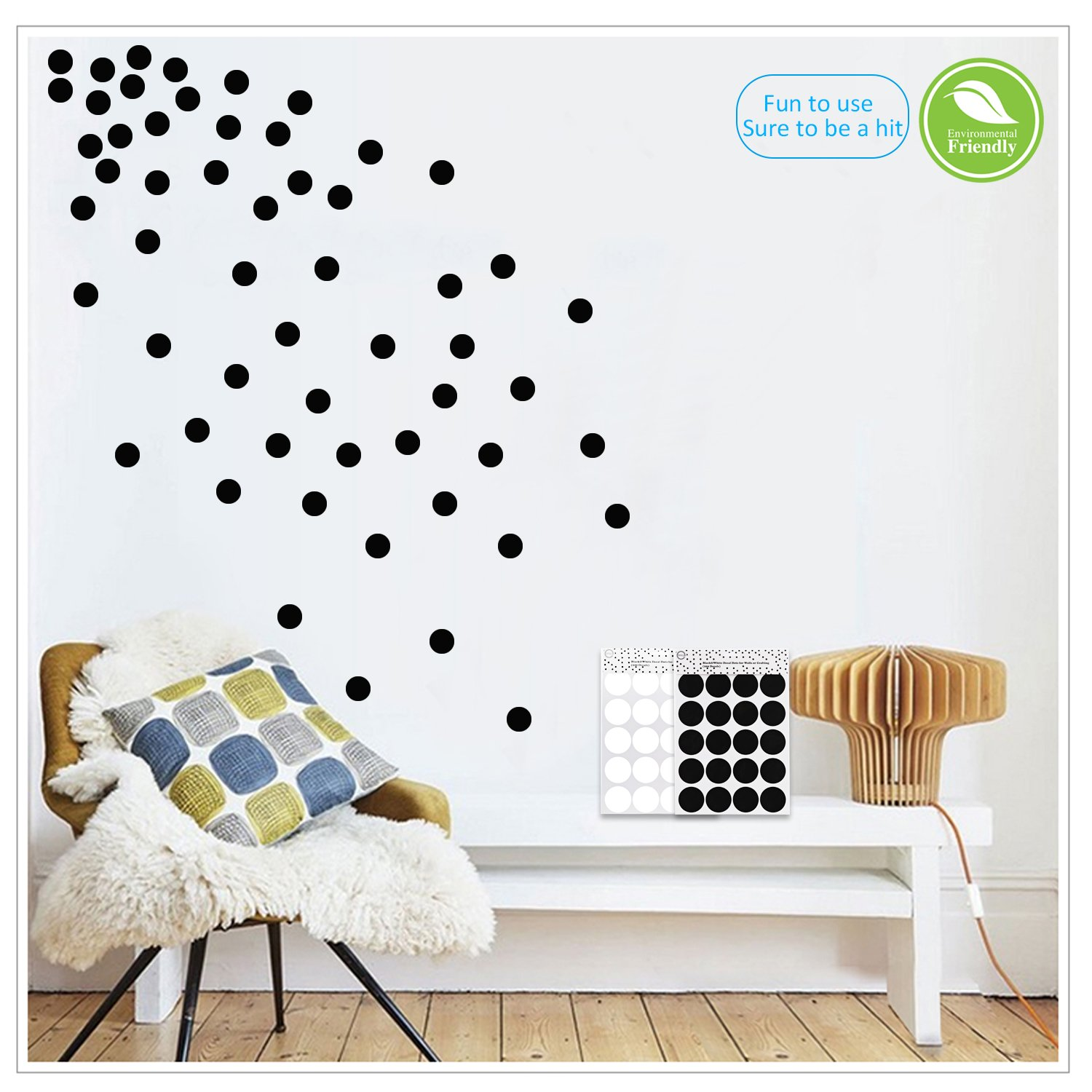 Black Wall Decals Polka Dots Vinyl Stickers Circle Art Wall Decor Self Adhesive Dots Removable Hanging Decorations for Nursery Room or Bedroom (200 Decals Circles)
