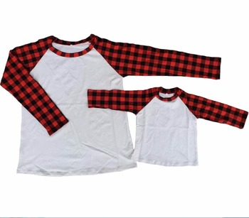 f56e50090 wholesale baby girl red black plaid raglan shirt mommy and me cotton raglan  shirts family christmas