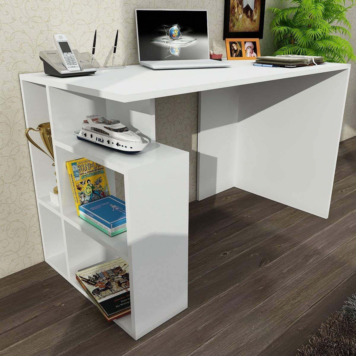 Writing Computer Desk Modern & Simple White Straight Flush Design Modern Flat Plain Simple Study Desk Industrial Style Study & Laptop Table for Home, Office, Living Room, Study Room