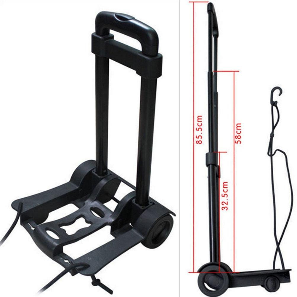 40 L Portable Folding Trolley Aluminum Folding Trolley Luggage Wheel Sack Trolley Car Warehouse Travel Car Carrier Luggage Car Mini Hand Cart Black