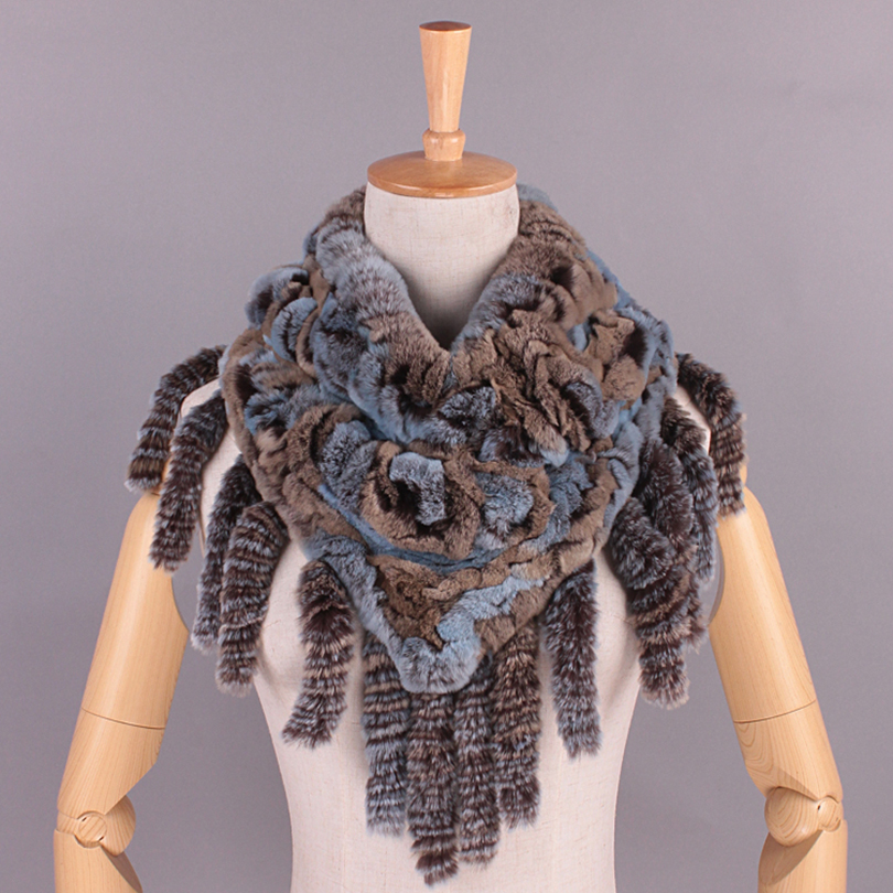 font b Winter b font Women Scarves With Tassel Rex Rabbit Fur Knitted 100 Real