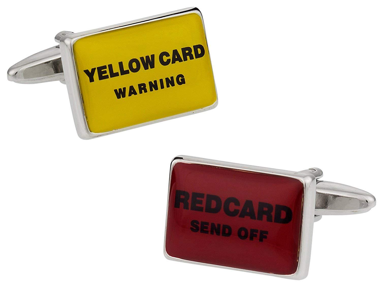 Cuff-Daddy Red Yellow Card Soccer Football Cufflinks with Presentation Box