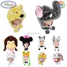 D094 Cute Cartoon Kids Girl Warmer Plush Animal Head Hat