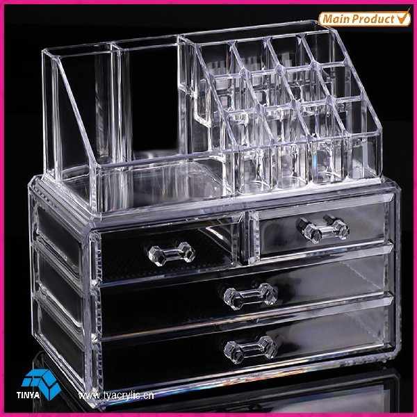 Organizador cosmético Caja de maquillaje con cajones Cosméticos cuadro de exhibición Caja de almacenamiento de joyería Esmalte de uñas titular de almacenamiento de joyería Caso