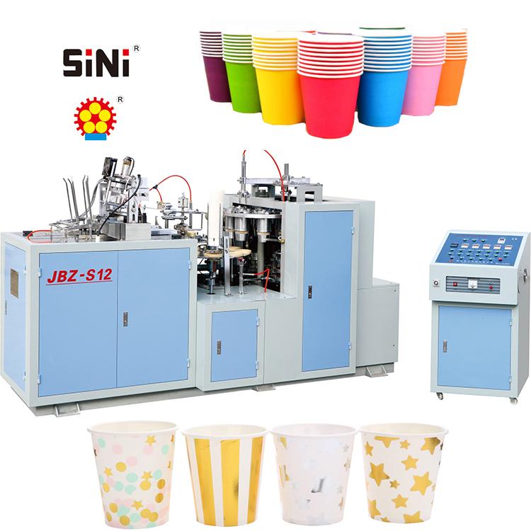 Yarı otomatik geri dönüşüm tek kullanımlık dondurma kahve fincan yoğurt şekillendirme dalgalanma çift duvar kağıdı bardak yapma makinesi