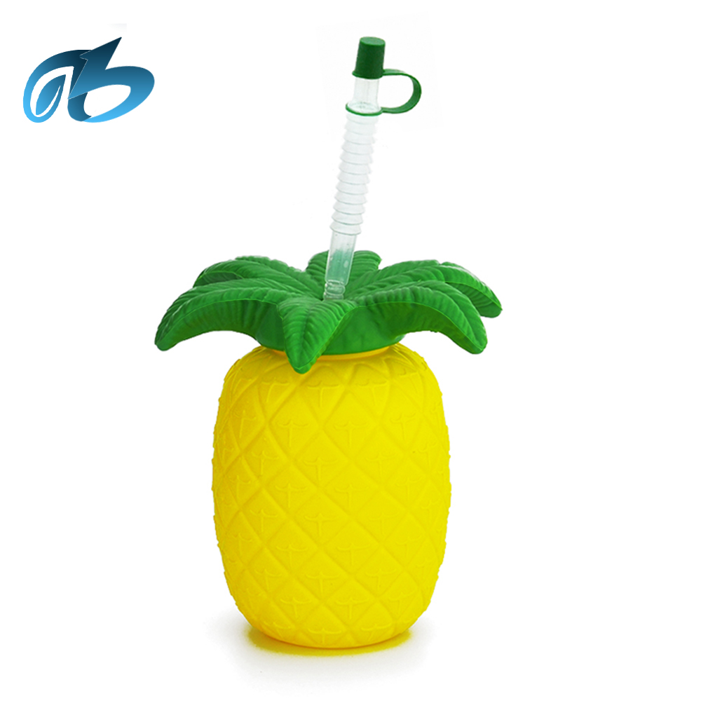 Cheap Wholesale Custom Fashion water drinking bottle Luxury pineapple slush yard glass beer cup with straw