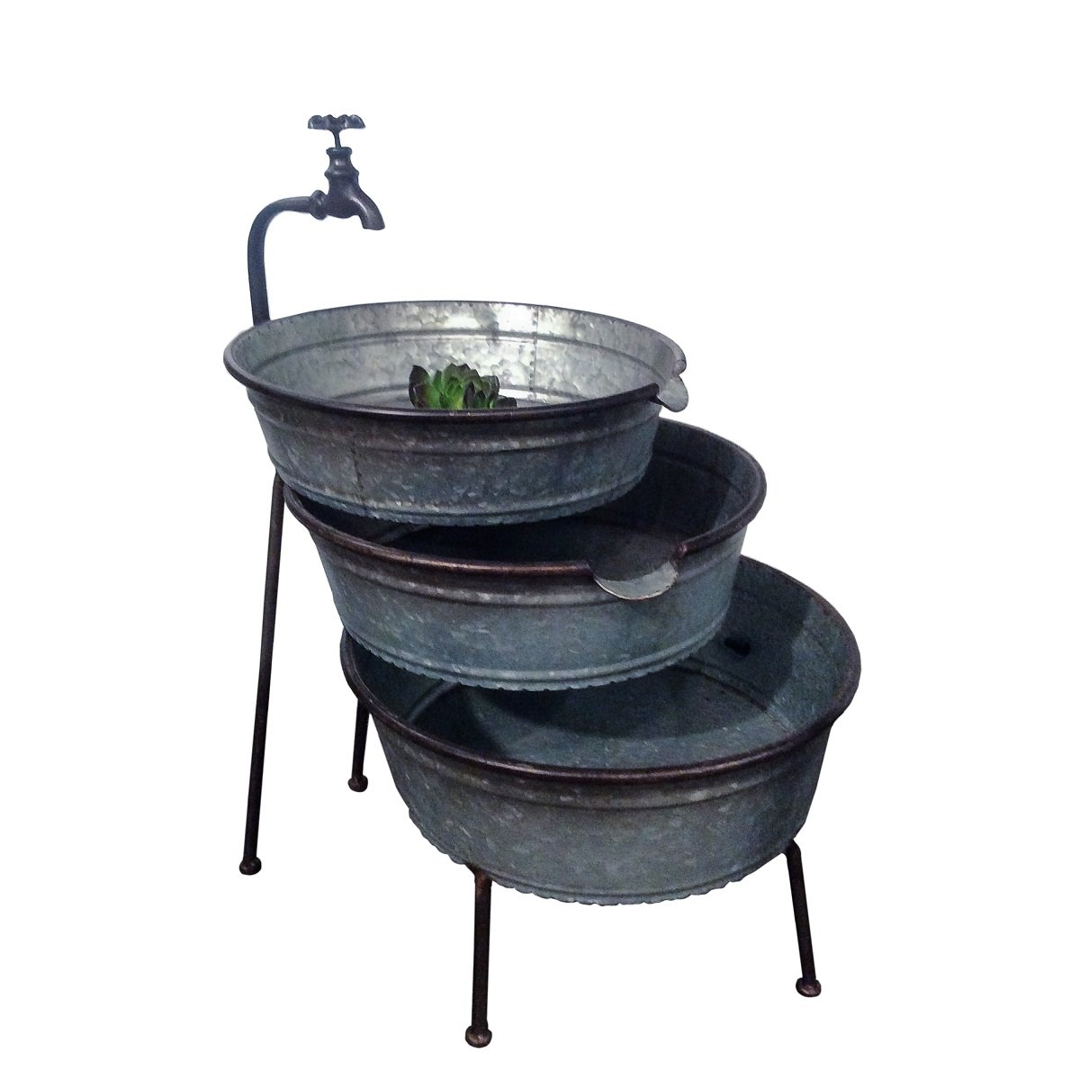 Get Quotations · VIP Home U0026 Garden 3 Tier Galvanized Metal Stacked Tubs  Garden Fountain With Faucet Design U0026