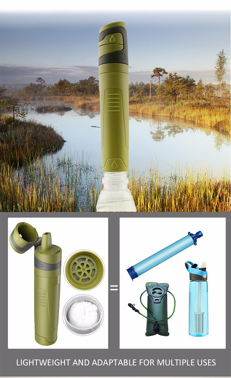 Personal Straw Water Filter 0.5 Micron Emergency Ultralight Survival and Camping Kit