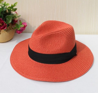 Custom Logos Striped wool felt Straw ladies summer fedora floppy Hats