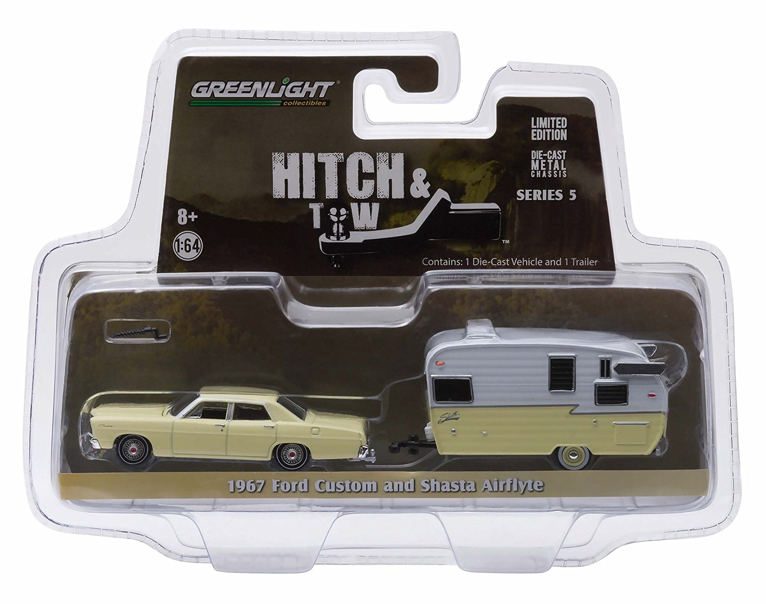 1967 FORD CUSTOM & SHASTA 15' AIRFLYTE * Hitch & Tow Series 5 * 2015 Greenlight Collectibles Truck & Trailer Limited Edition 1:64 Scale Die-Cast Vehicle Set