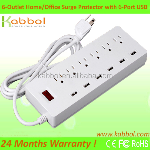 High Quality Home/Office 6 Outlet Power Strip with Individual Switches and 6-Feet Cord for iPhone, Samsung, HTC, LG