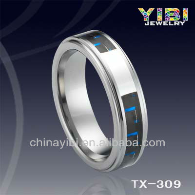 Tungsten Ring Black Carbon Fiber Bule&Silver Line Inlaid Stepped Edges Mens Wedding Ring