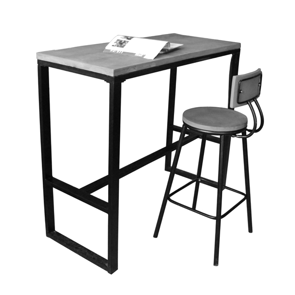 Custom cast iron stand gray concrete table and chair for snack <strong>bar</strong>