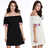 OEM/ODM Slash Neck Loose Short Dress with Tassel Black White