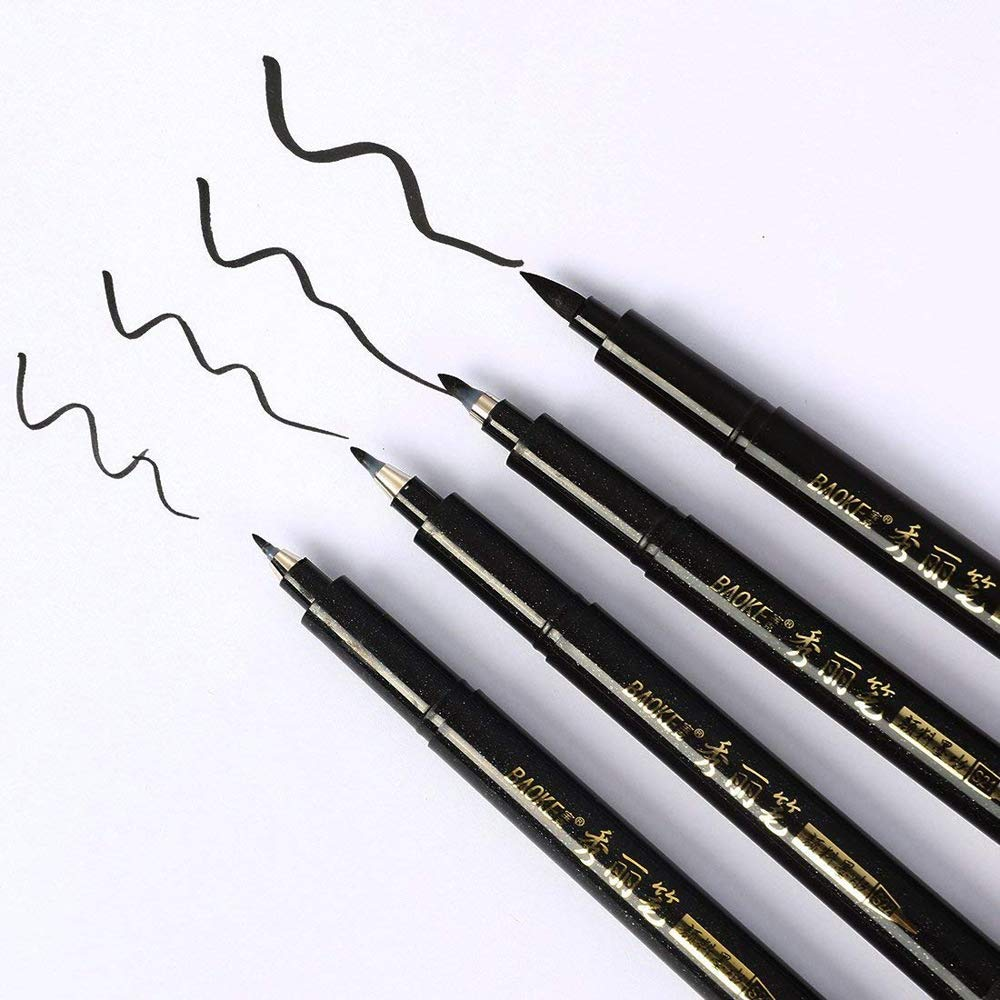4 Sizes Ink Calligraphy Pen Hand Lettering Pens Brush Markers Drawing Art Marker 4PC (Black, 4PC X 12x144mm)