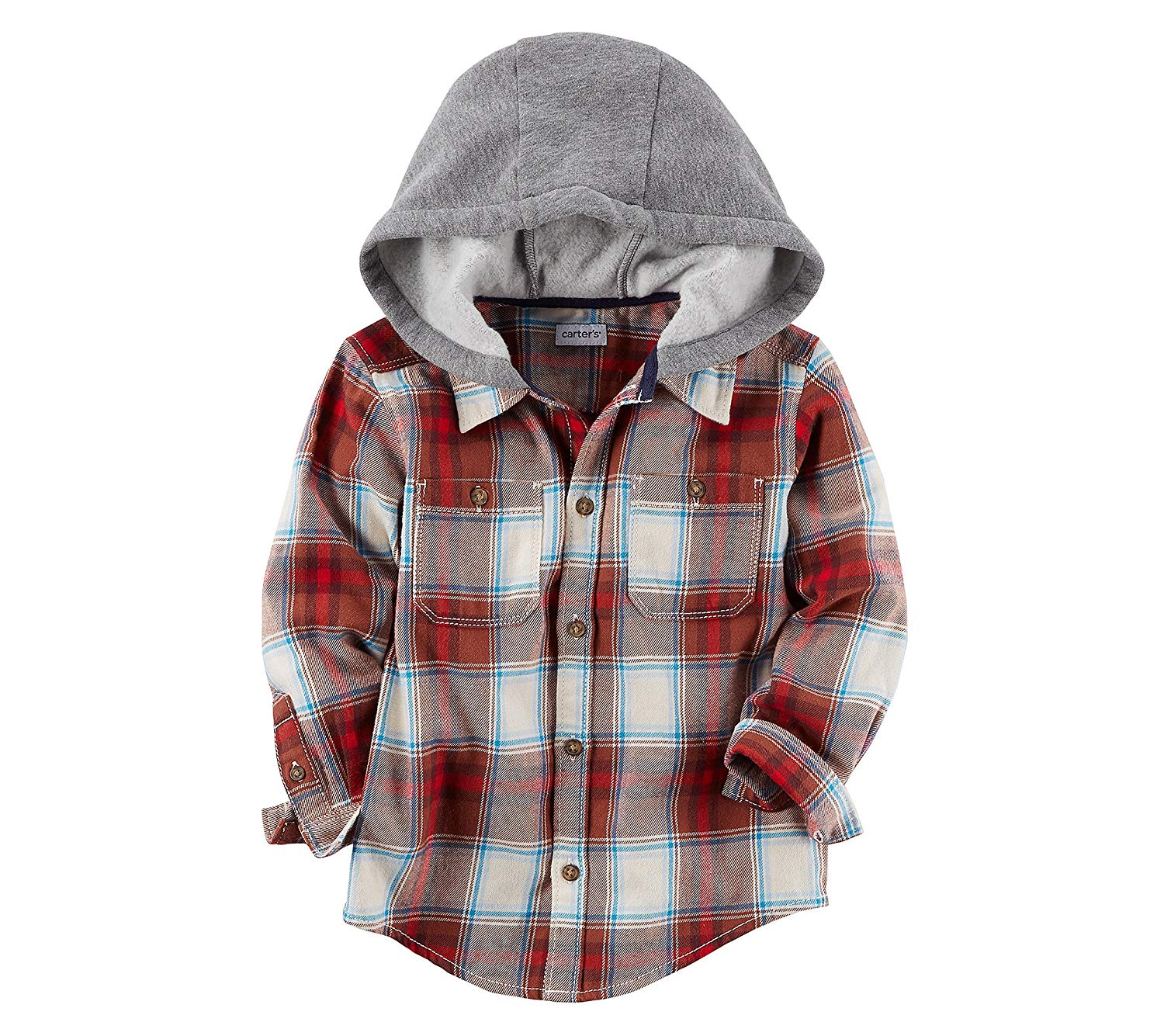 5a02248d0632a Get Quotations · Carter s Boys  2T-8 Long Sleeve Plaid Zip up Hoodie