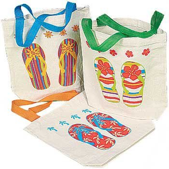 94c95f3c27a2 Get Quotations · Fun Express Canvas Flip Flop Tote Bags. Multicolor (12  Pack) 8