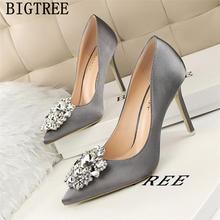 Женские туфли на каблуке со стразами Bigtree, розовые туфли-лодочки на каблуке, свадебные туфли, Новое поступление 2020(China)