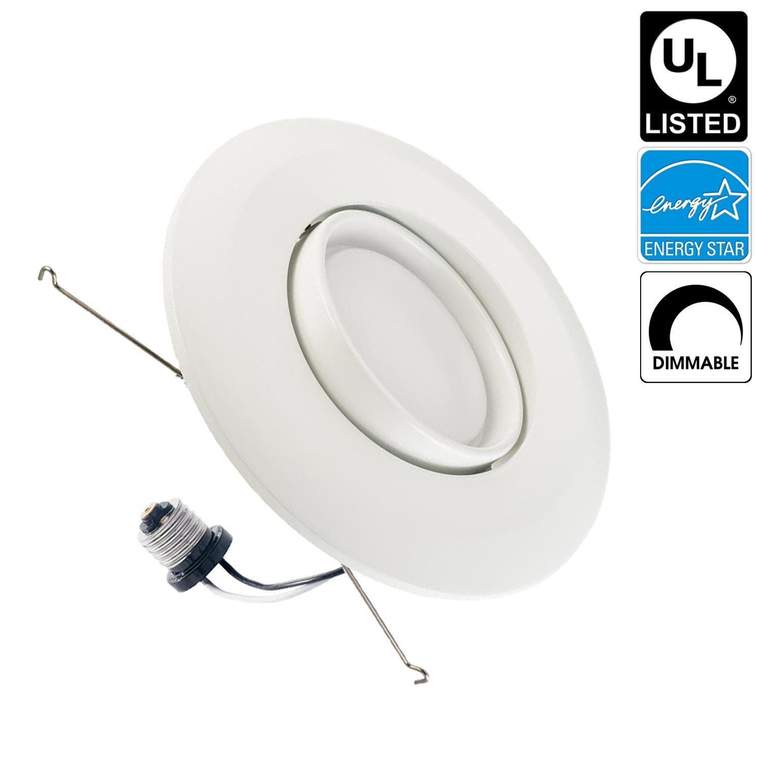 Luxrite LR23040 15W 5/6 Inch LED Gimbal Retrofit Downlight, 120W Equivalent, ENERGY STAR, Dimmable, Soft White 3000K, Adjustable Recessed LED Ceiling Light, UL Listed, 1-Pack