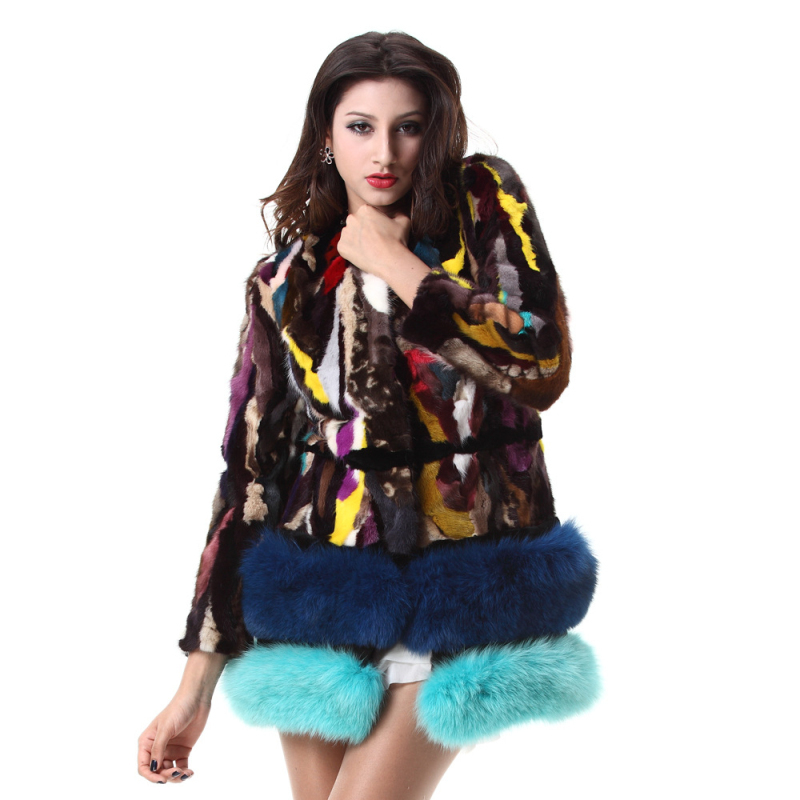 Psychedelic Knitted Mink Coat Plus Size With Fox Fur Lap Genuine Real Mink Fur Coat Women Luxury Natural Fur Coats PC33