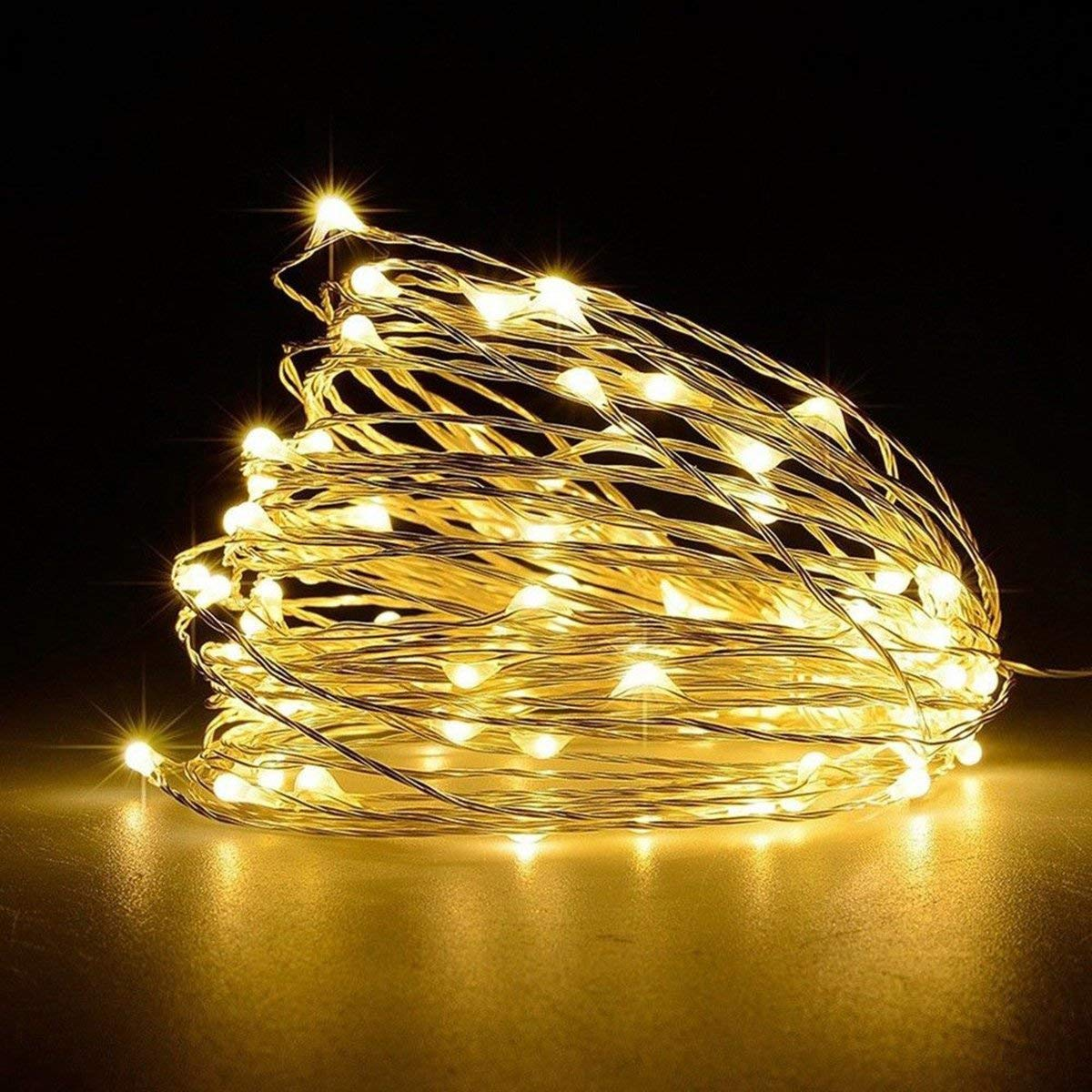 LED String Light,Leyeet 33ft with 100 LEDs USB Interface Waterproof Decorative Copper Wire Lights for Indoor, Bedroom Festival Christmas Starry Fairy Wedding Party Patio Window(Warm White)