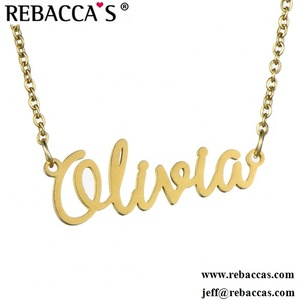 stainless steel 18k gold women jewelry nameplate custom personalized name  necklace