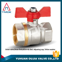 Dn25 diameter nickel plated surfaces and combinations of Red Butterfly handle certified brass ball valve
