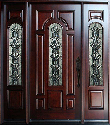 Solid Wood Entry Door Single Two Sidelights Prehung Dark