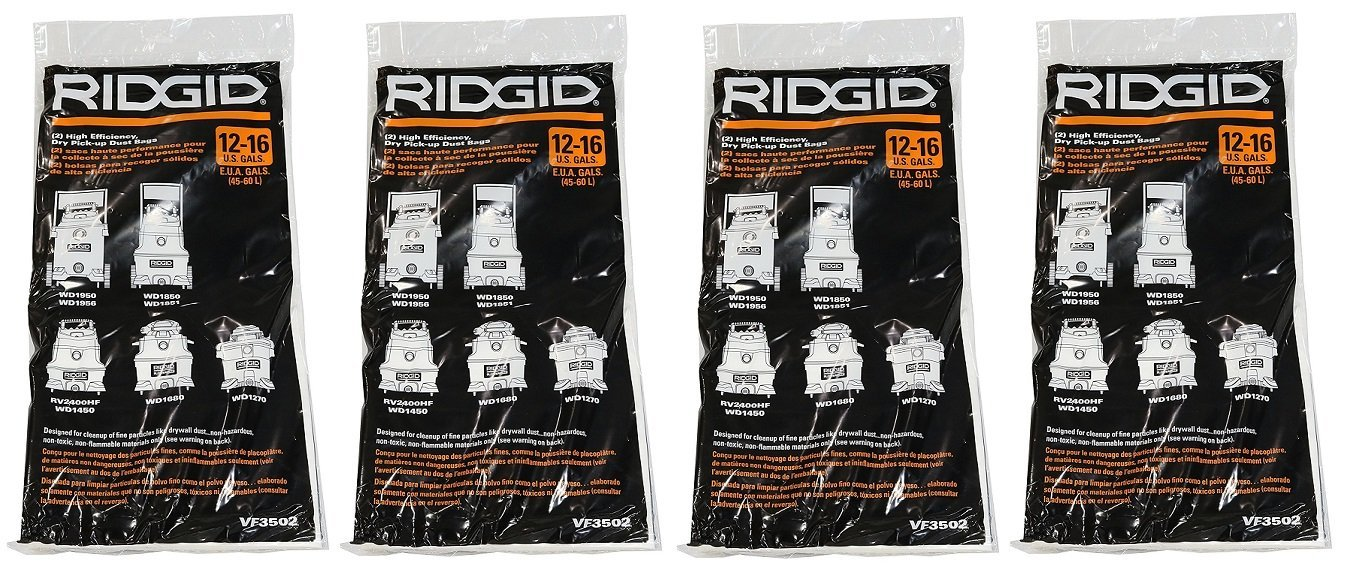 Ridgid VF3502 High Efficiency, Dry Pickup Dust Bags for 12 - 16 Gallon Ridgid Wet / Dry Vacuums (4 X 2 Pack)