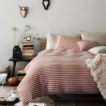 Premium Cotton Red And White Stripe Bed Linen Knitted Jersey Quilt Cover