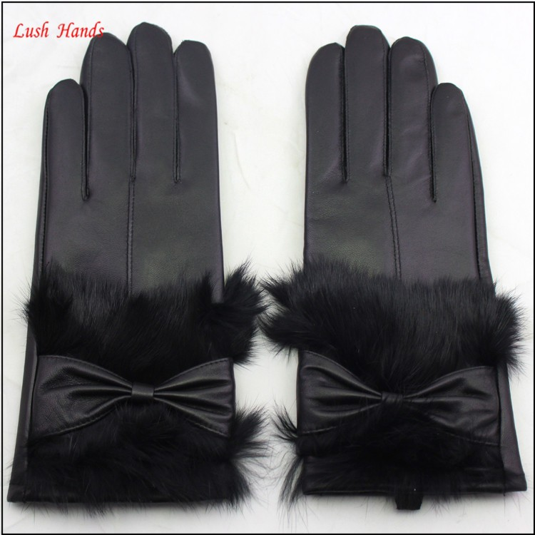 fashion ladies genuine sheepskin leather gloves with real fur leather gloves