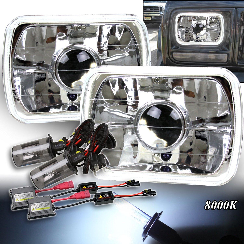 7X6 H6054 H6014 H6052 Clear Projector Housings Headlight H4 Slim HID 8000K White