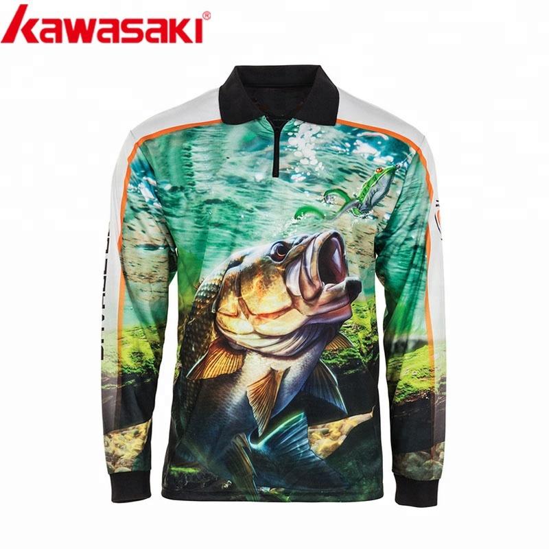Custom Long Sleeve 100% Polyester Sublimation Fishing Shirt