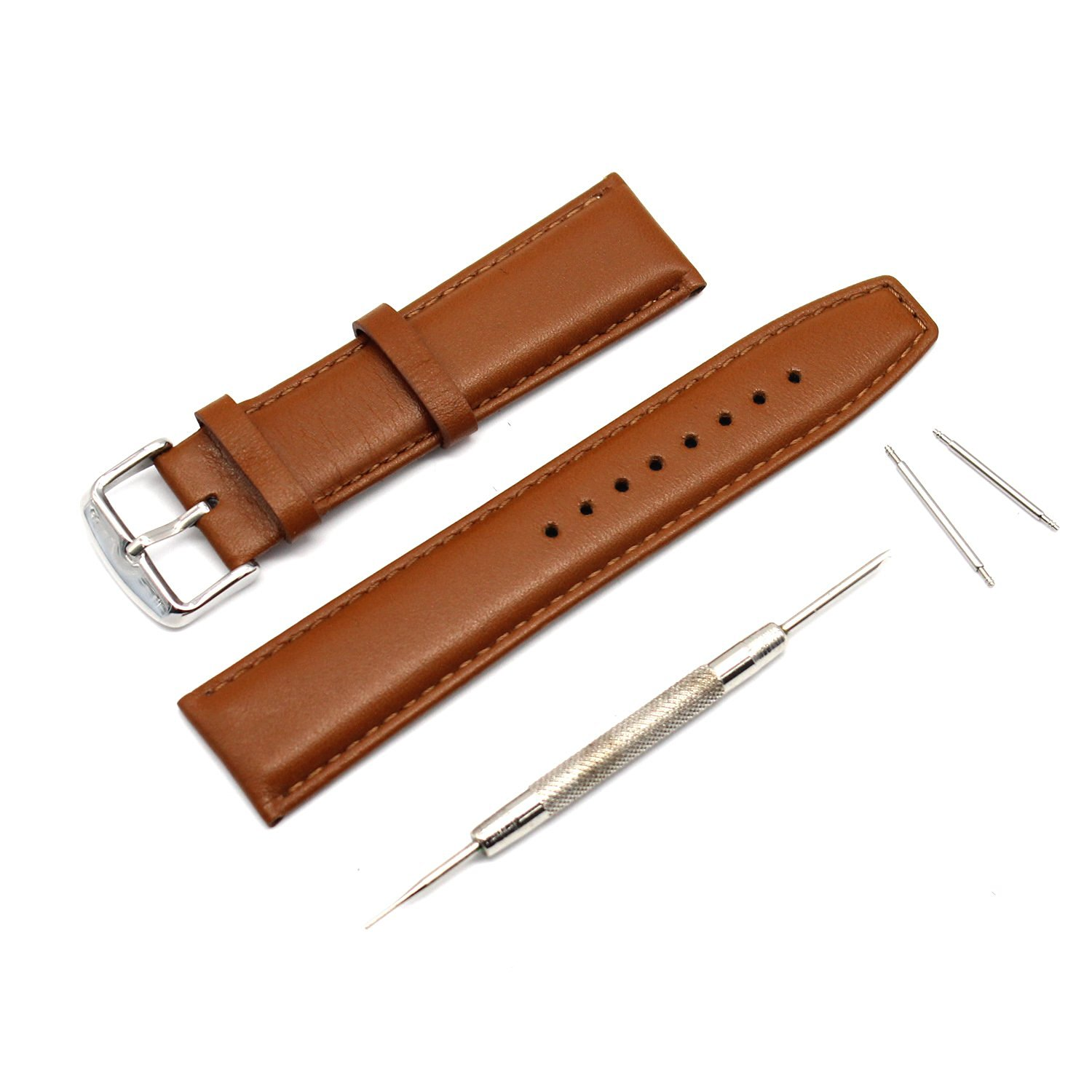 MOTONG 22mm Replacement Genuine Leather Watch Band For Motorola Moto 360 Watch 2nd Gen,Men's 46mm