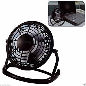 wennow Black Metal Shell Silver Tone Aluminum Blade Desktop Mini USB Fan Cooler DC 5V