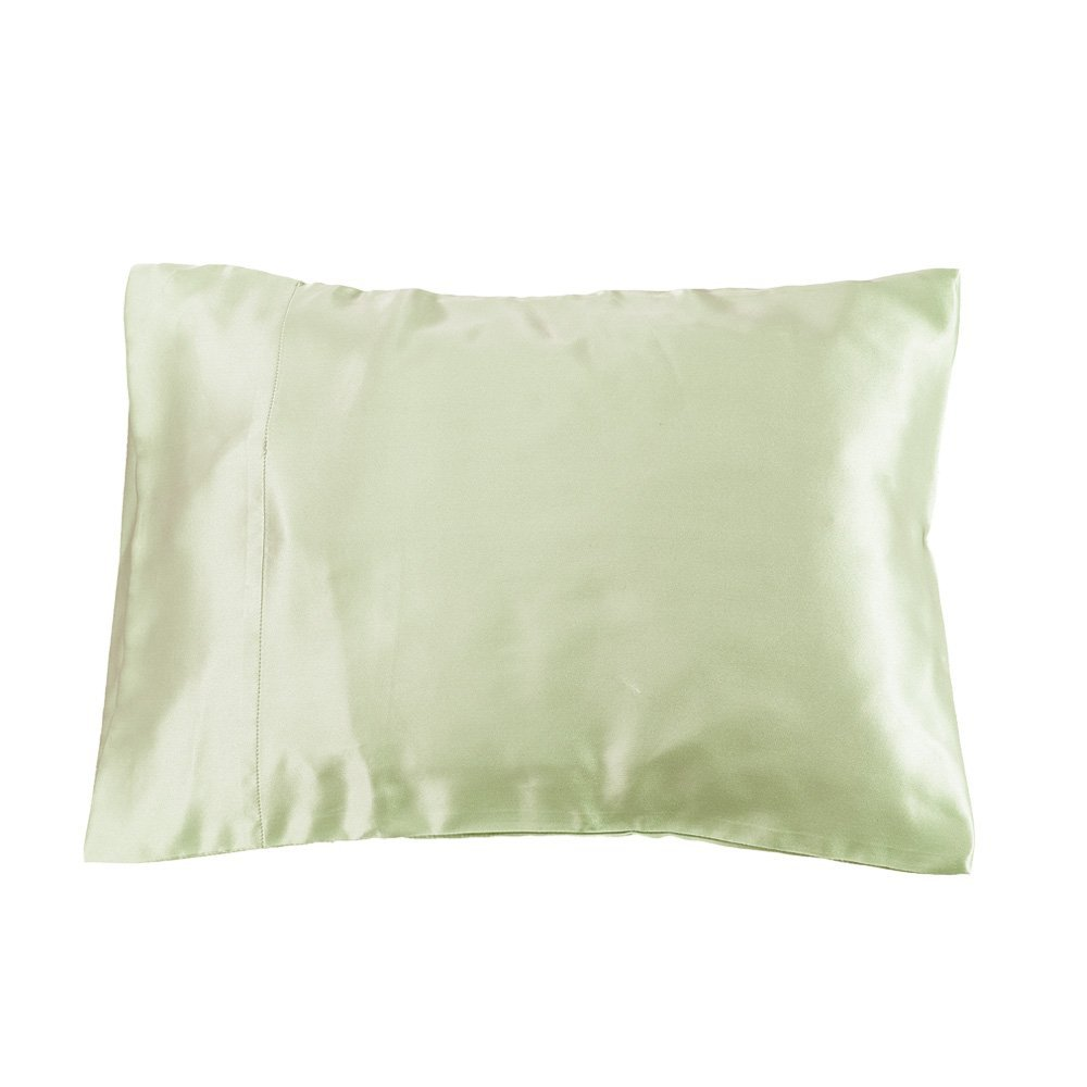 LILYSILK Crib Pillowcase 22 Momme 100% Pure Mulberry Silk Terse Envelope Closure US6012 Soft Green 14x20 Inch