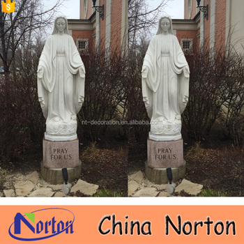 White Marble Life Size Virgin Mary Garden Statues NTMS R477A