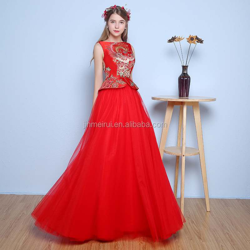 2018 New Design Elegant High Neck Bateau Sweet Red A Line Floor Length Beaded Evening Dress