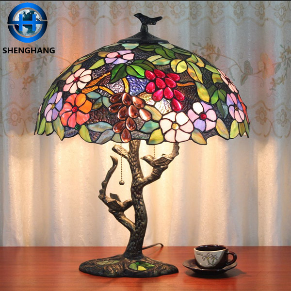 Details About Tiffany Style Stained Gl 3 Shade Switch Cord Lily Base Table Lamp Vgc